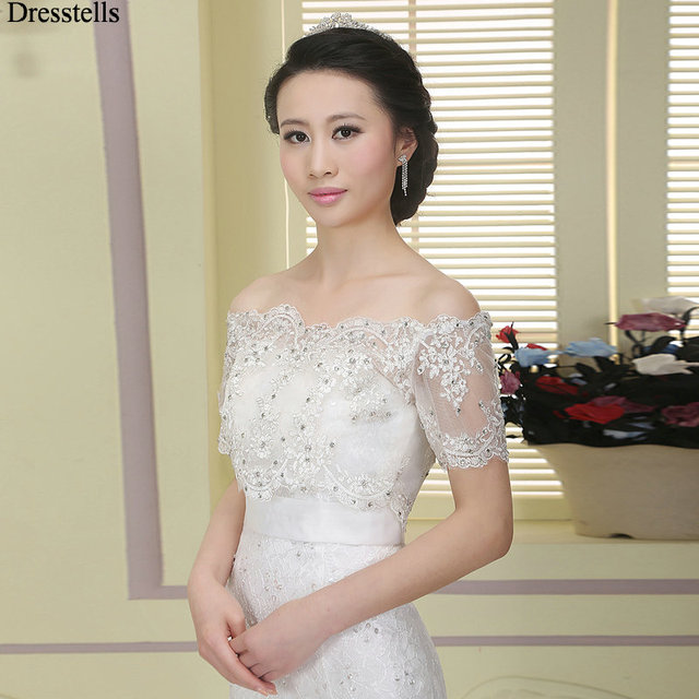 bf172eaa27bf Dresstells White Lace Bridal Bolero Wedding Capes Off Shoulder Short  Sleeves Wedding Jackets Wraps Wedding Accessories