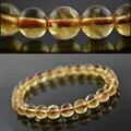 Класса AAA подлинная природный цитрин 8 мм мода женщин прядь браслеты 7.5 '' круглый бусины лаки ювелирные изделия #12