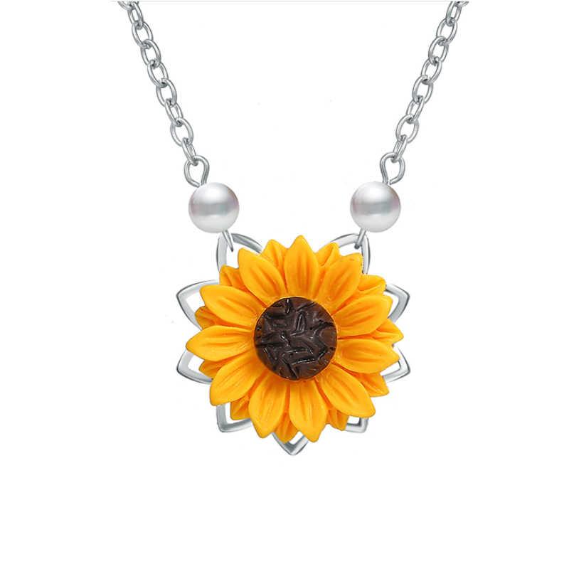 חיקוי פרל שמש פרח שרשרת תליון לנשים תכשיטי אביזרי זהב צבע חמניות קולר שרשראות תכשיטי חתונה