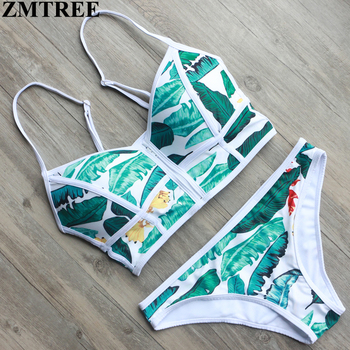 ZMTREE Baru Wanita Sexy Swimwear Brasil Cetak Zipper Bandeau Segitiga Bikinis Set Padded Swimsuit Perempuan Pantai Biquinis 2017