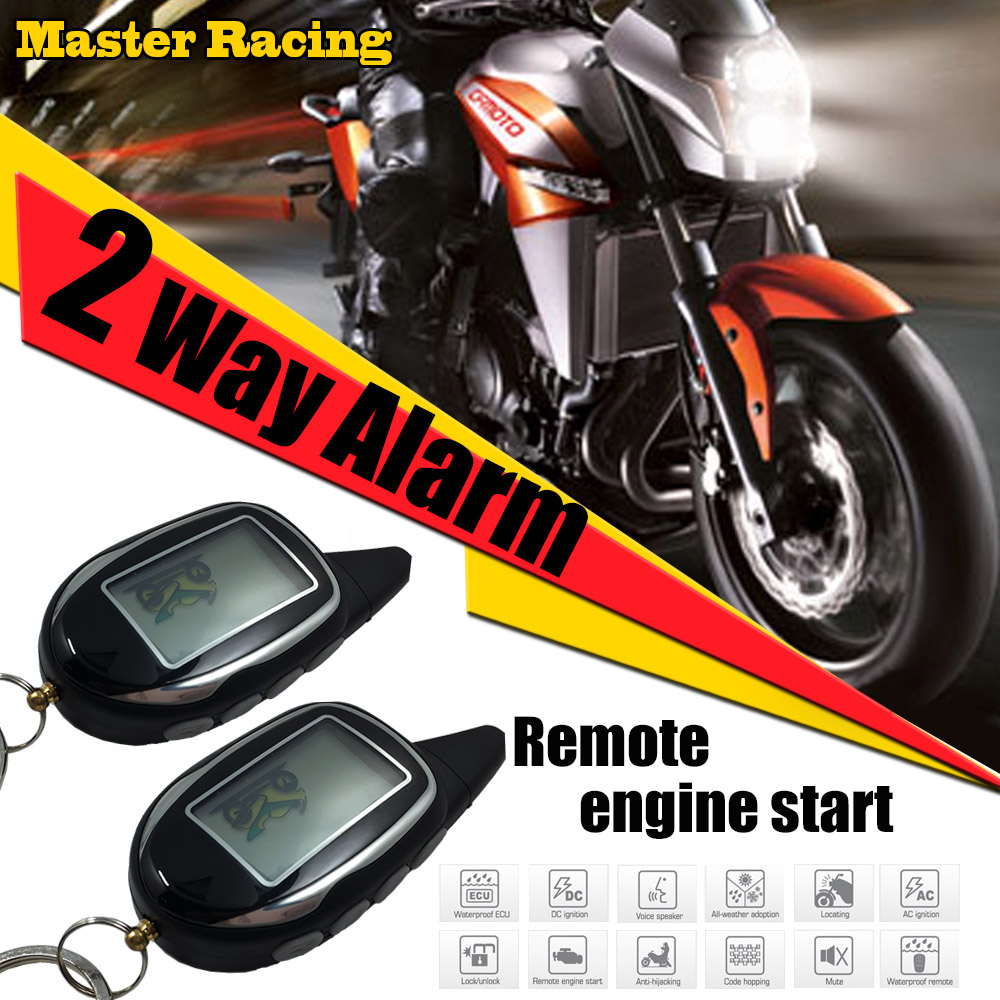 Two 2 Way Motorcycle Alarm Scooter Anti-theft Protection System With Shock Sensor Moto Security Alarm LCD Display Engine Start цена 2017