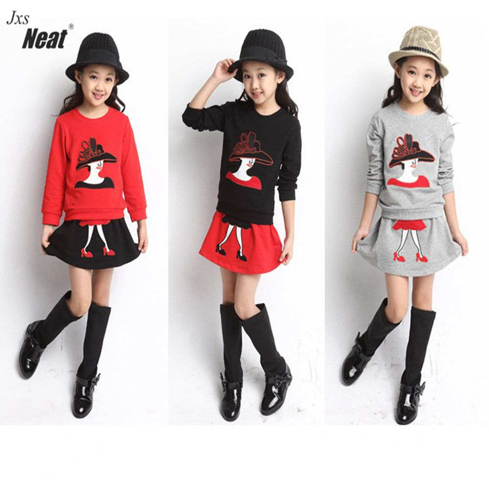 Girl suit brand 2017 spring and autumn burst 100% cotton comfortable creative T-shirt and skirt girl wearing fashion suit TL609