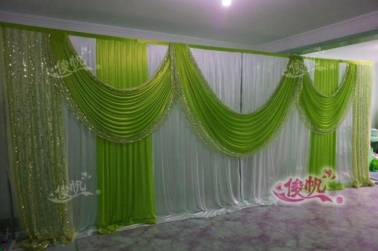 Ледяной шелк белый свадебный фон с фиолетовые пайетки Swag пользовательский цвет роскошный свадебный фон для свадебной вечеринки декор - Цвет: Зеленый