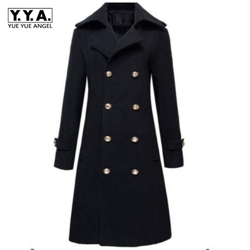 Winter Mens Military Double Breasted Wool Blend Long Jackets For Man Female Cotton Padded Warm