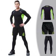 3 Pieces Men GYM Compress Fitness Sets Long Tee Top + Legging + Shorts Workout Exercise Sport Shirt Running Tights Clothing E104