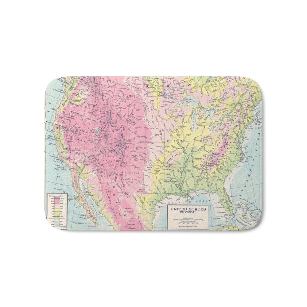Home Entrance Doormat Physical Map Of The United States Fashion Rectangular Mats Bathroom Kitchen Anti-Slip Floor Mat