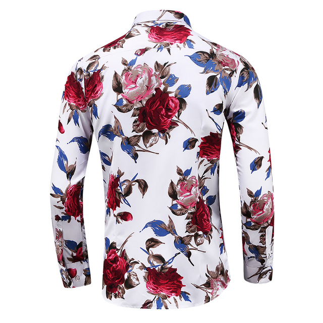 HCXY 2019 Spring Autumn Fashion Men's Casual Shirt Men Long sleeve Floral Printing Shirts Male Slim fit Plus Size 6XL 7XL