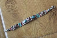 BR439 Handmade Nepal Copper Colorful Stone Clasp Girls Bracelet Ethnic Tibetan 13mm Wide Women Cuff Bracelets