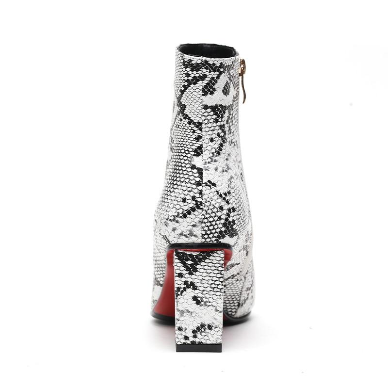 BAISER Mouillé Imprimer Serpent Pu femmes Bottines Zip Bout Pointu Chaussures épais talons Hauts Femme Boot chaussures de Soirée femmes 2019 Nouveau printemps - 2