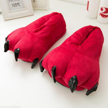 2017 Winter Warm Soft indoor floor Slippers Women Men Children Shoes Paw Funny Animal Christmas Monster Dinosaur Claw Plush Home