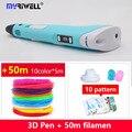 2018 Myriwell 3d pen 3d pens abs 1.75mm pla filament LED display 3d magic pen designed for kids graffiti pen 10 color 50m