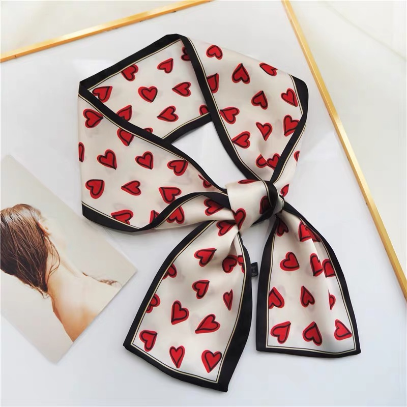 2019 Heart Love Scarf Women Cute Hair Tie Band Kerchief Wrist Ribbons Fashion Head Neck Silk Satin Bag Scarfs Long Silk Scarf