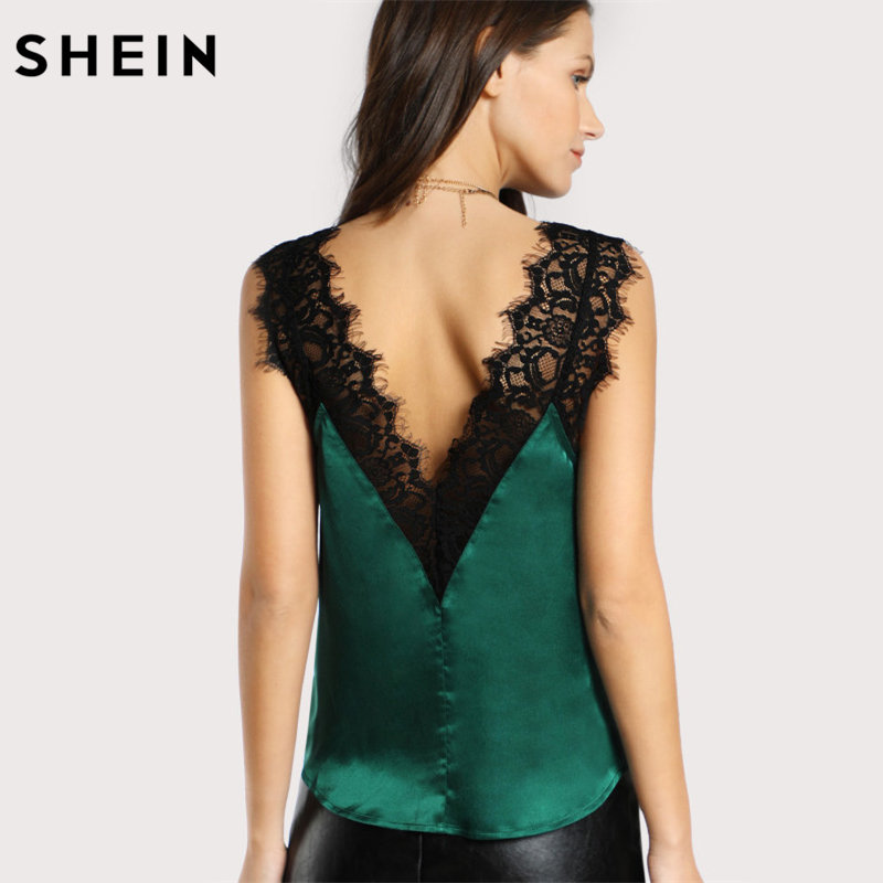 SHEIN Lace Trim Double V Neck Satin Silk Top Sexy Tops for Women Fitness Tank Top
