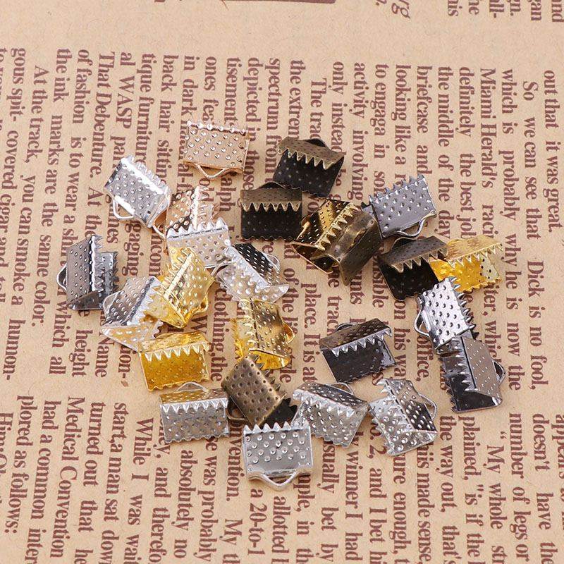 10mm Crimp beads cove clasps Cord End Caps String Ribbon leather Clip Foldover DIY Necklace Bracelet Connectors Jewelry Findings