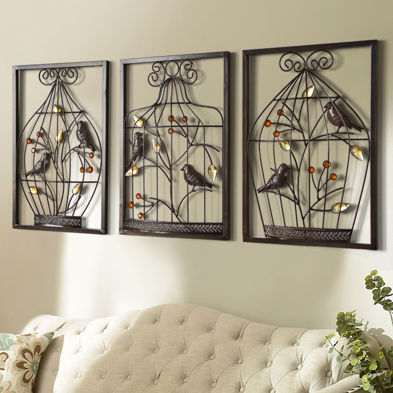 bird flower iron cage wall mural creative home furnishing stereo background wall hanging. Black Bedroom Furniture Sets. Home Design Ideas