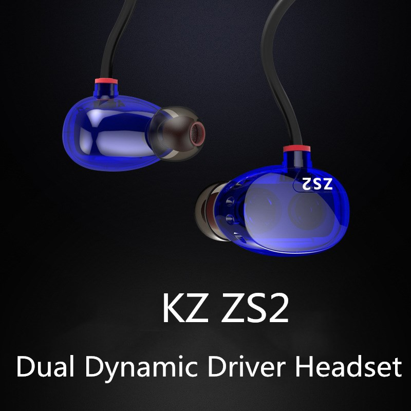 Dual Dynamic Hi fi Earphone KZ ZS2 Bass Headset In-Ear Stereo Noise Cancelling Headphone DJ Rock Dance Pop Music Earphones sur s525 dynamic stereo music in ear earphones drive by wire