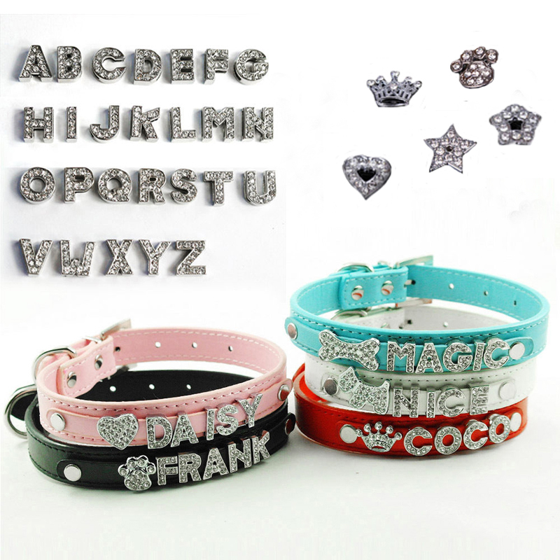 Personalized Leather Dog Collar Bling