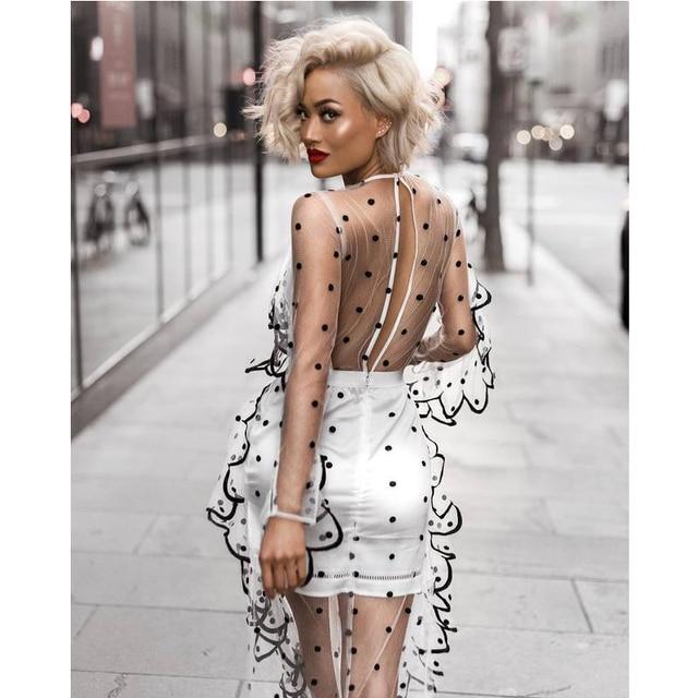 60927a4ff LEGER BELDADE 2018 das mulheres da moda verão longo estilo glamour edgy  esplendor branco tulle sexy