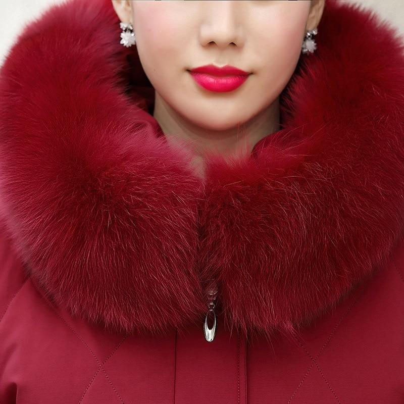 2020 nueva chaqueta de plumón de pato blanco de Invierno para mujer, chaqueta de talla grande con capucha, chaqueta fina de piel de zorro para mujer - 4