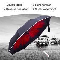 Newl Dual Layers Reverse Umbrella Handle LED Warning Light Windproof Folding Inverted Self Stand Rain Umbrellas For Car