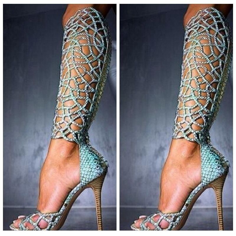Dipsloot Woman Luxury Blue Rhinestone Embellished Cut-outs Gladiator Sandals Boots Ladies Super Thin High Heels Knee High BootsDipsloot Woman Luxury Blue Rhinestone Embellished Cut-outs Gladiator Sandals Boots Ladies Super Thin High Heels Knee High Boots