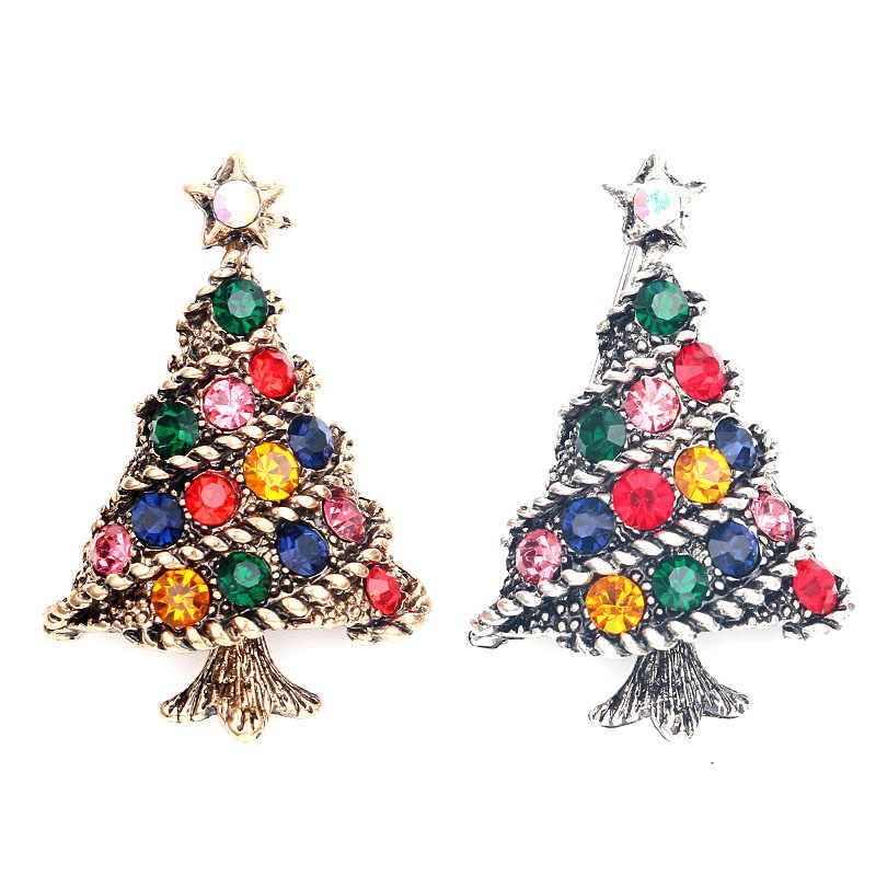 Albero di natale del Rhinestone DELLA CZ Colori Spilla Monili di Fascino di Modo Risvolto Distintivo Regalo Di Natale Per Gli Uomini Donne Bambini Regalo di Festival
