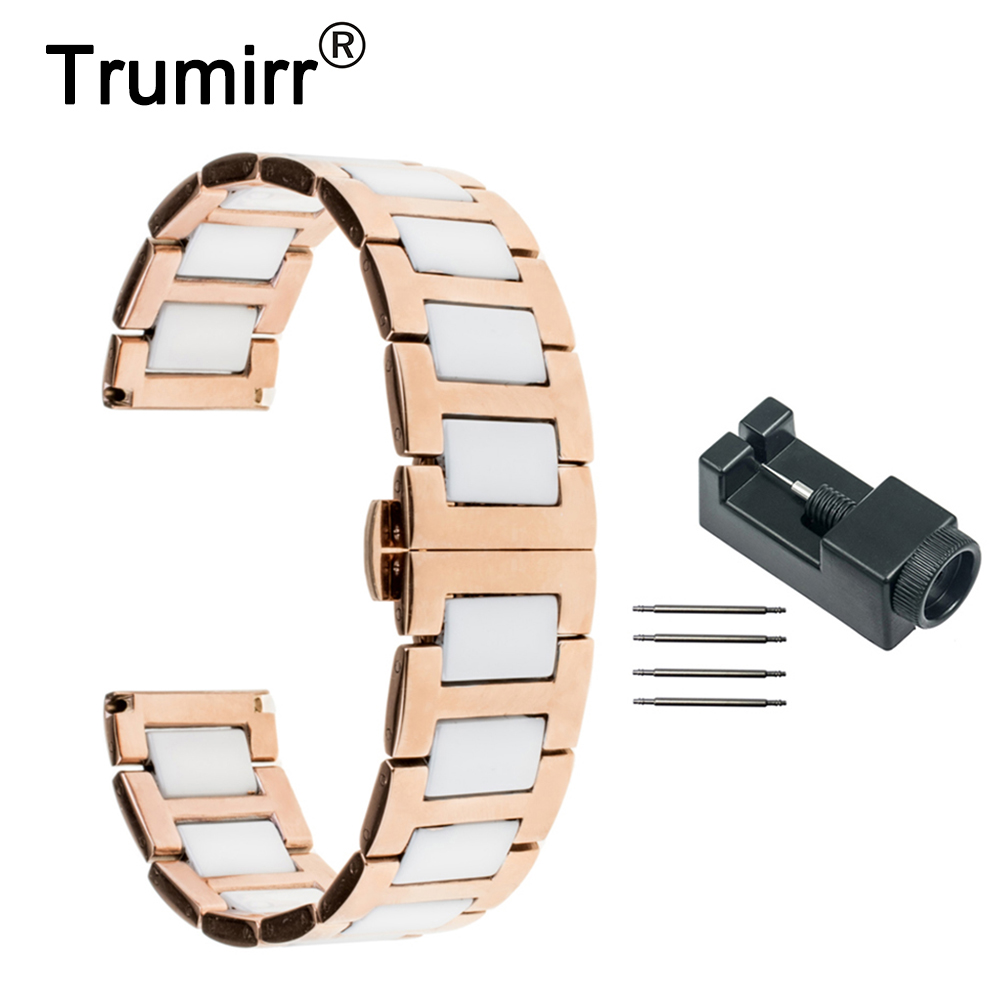 Ceramic & Stainless Steel Watchband 18mm 20mm 22mm + Link Remover Universal Watch Band Wrist Strap Butterfly Buckle Bracelet 16mm 18mm 20mm 22mm ceramic and stainless steel watchband bracelet rose gold white watch band watch strap butterfly buckle clasp