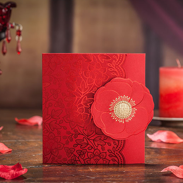 10 Pieces Lot Traditional Chinese Red Wedding Invitation Card With Embossed Flowers Wishmade