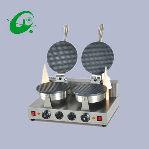 2 Plate Cone Baker Double Head cream Leather machine Egg roll machine Ice Cream Paper Maker electric square egg roll machine cone baker ice cream cone maker egg roll maker