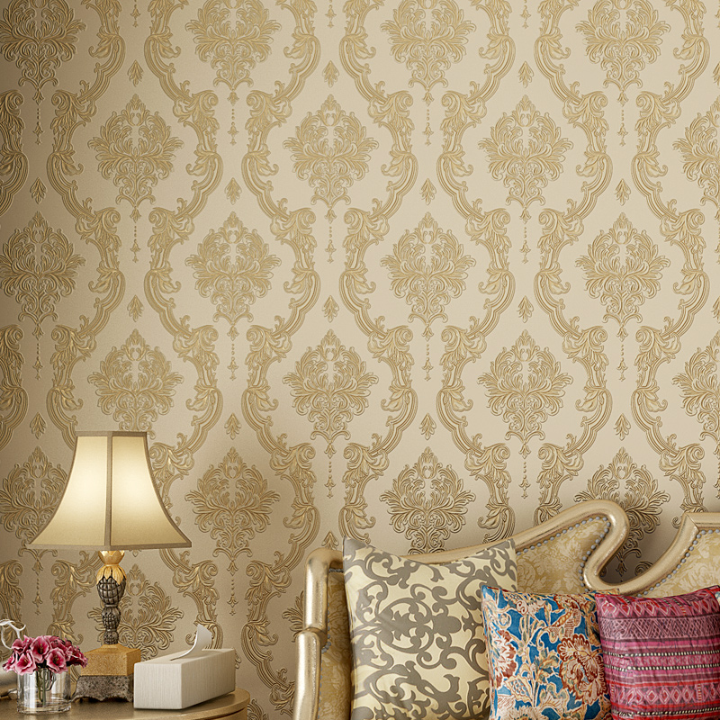 Fashion European Style 3D Embossed Floral Wallpaper Roll Non Woven Damask Wall Paper for Walls Living Room Bedroom Paper Contact beibehang embossed american pastoral flowers wallpaper roll floral non woven wall paper wallpaper for walls 3 d living room
