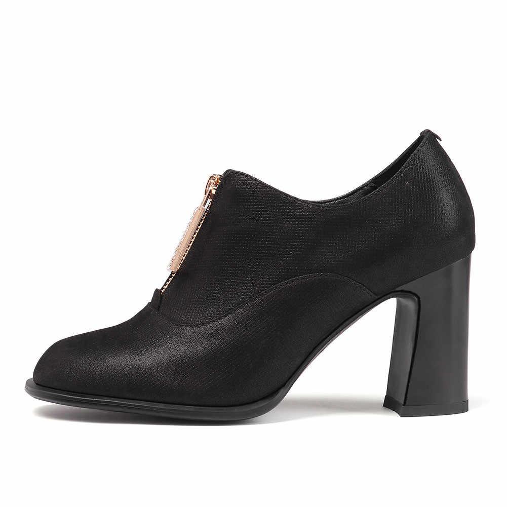 Büyük Boy 43 Hakiki Inek Deri Zarif Patik Yüksek Topuklu Zip Ayakkabı Kadın Rahat Parti Ofis Sonbahar Bahar yarım çizmeler