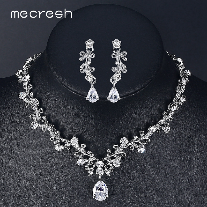 Mecresh Luxury Cubic Zirconia Bridal Smycken Set Leaf-Shape Crystal Rhinestone Party Bröllop Smycken Halsband Set MTL486