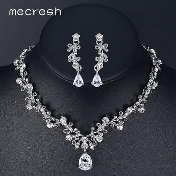 Mecresh Folha-Forma de Cristal de Luxo Cúbicos de Zircônia Conjuntos De Jóias de Noiva Strass Conjuntos de Colar de Jóias da Fêmea Do Partido MTL486