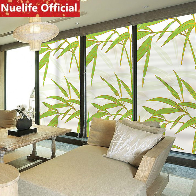 Green Bamboo Leaf Pattern Frosted Window Film Bathroom Living Room Dining Balcony Windows And Doors Glass N2