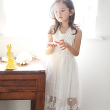 Age 4-14 Big Girls Dresses Summer 2017 Fashion New Lace Princess Sleeveless Long Maxi Dresses For Girl Kids White And Black