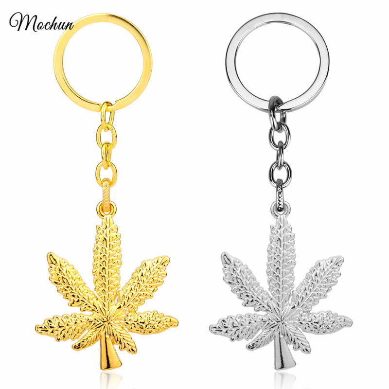 MQCHUN 2017 New Iced Out Weed HipHop Keychains Silver Gold Color Maple Leaf Pendant Hip Hop Car Key Chains Fashion Gift for Men image