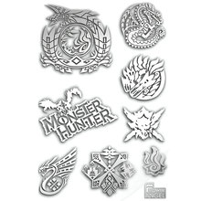 8pcs/set 3D Metal DIY Stickers Hot Game Monster Hunter LOGO Sticker For Phone Laptop Decorative Decal Toy Gift