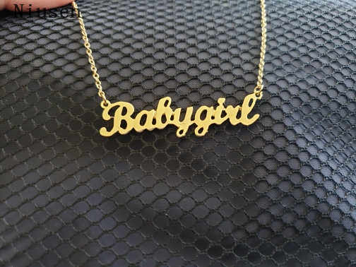 Personalized Cute Daddy' Girl Babygirl Necklace Custom Pendants For Children's birthday Gift Honey Jewelry