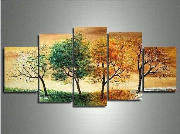 Dipinto a mano 5 pezzo moderno paesaggio decorativo 4 stagione ...