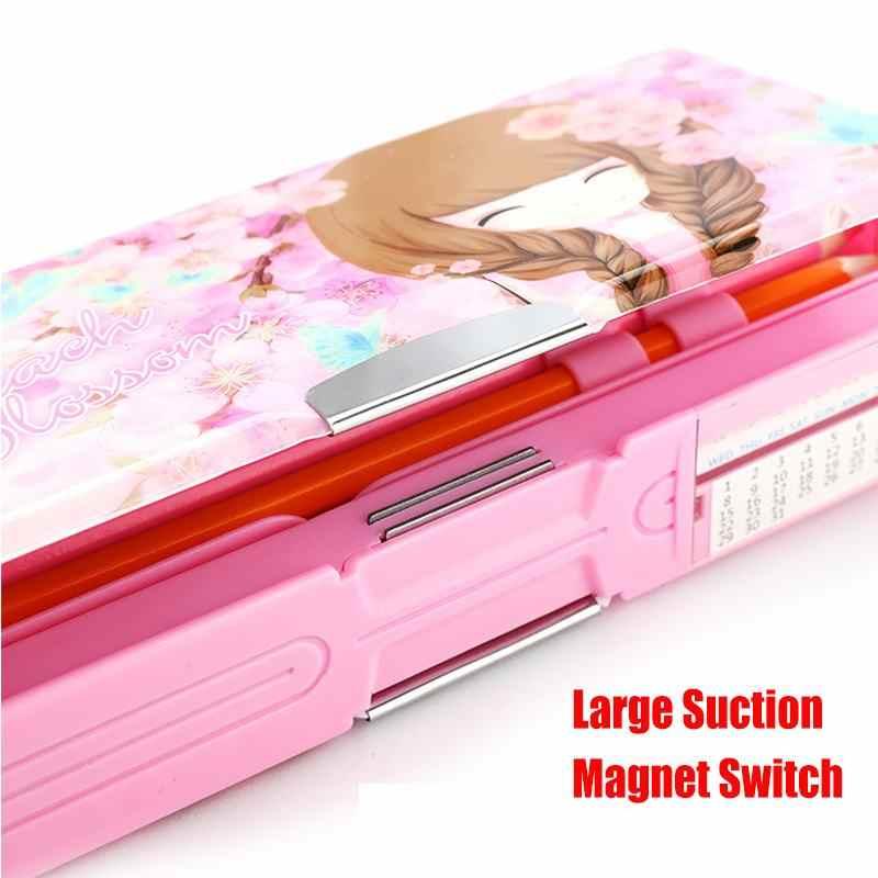 Dessin animé fantaisie papeterie multi-fonction stylo boîte en plastique deux couches Double ouvert multi-couche porte-crayon étudiant cadeau fournitures scolaires