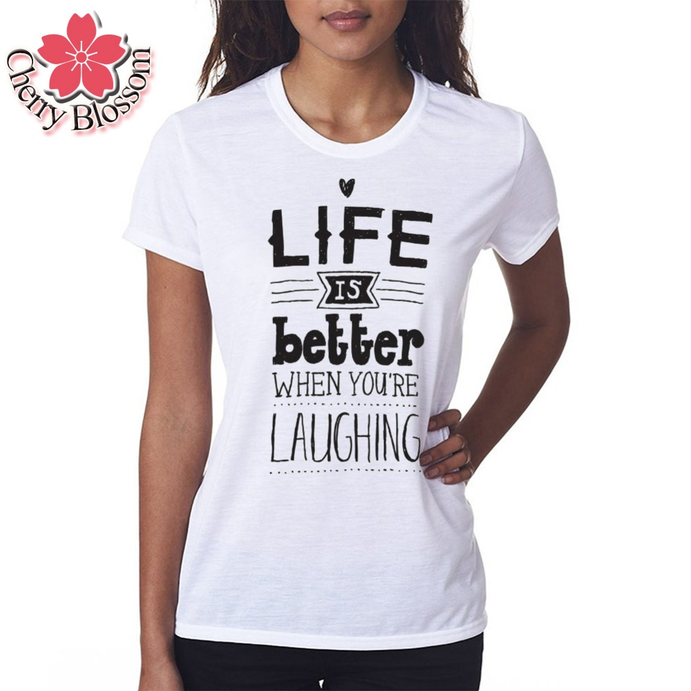 Cherry Blossom Summer Style Women S T Shirt Women Tops Let Your Heart Be Your Compass