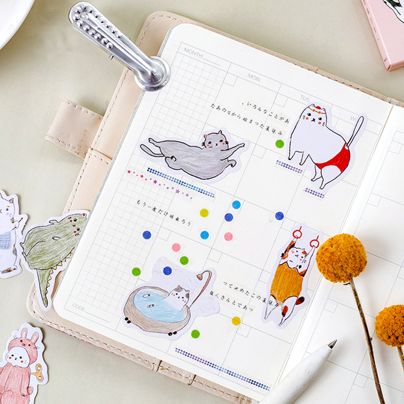 45Pcs box Japanese Kawaii Cartoon Fat Cat Stickers Scrapbooking Creative Cute DIY Journal Decorative Adhesive Labels Stationery in Stationery Stickers from Office School Supplies