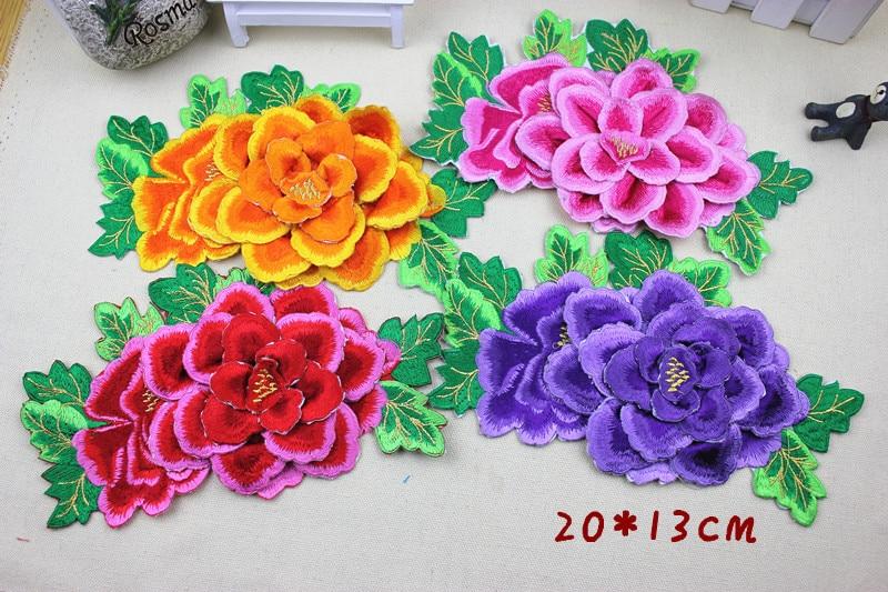 2 peças lote 3d multicolore dentelle patch tissu pivoine applique