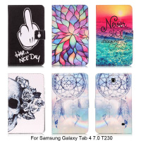 For Samsung GALAXY Tab 4 7 0 T230 Colorful Pattern Folding Stand PU Leather Cover Cases