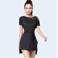 Latin Dance Dress Short sleeve Irregular Skirt Lady Ballroom Tango Dresses Cha Salsa Clothes For Women Latin Practice Wear