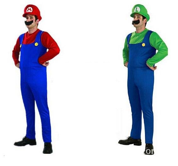 Adult Super Mario Bros Cosplay Costume Set Children Halloween Party MARIO & LUIGI Costume NL1061