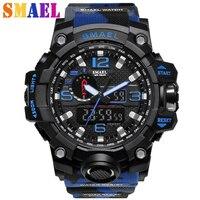 新しいsmaelブランドメンズクロノグラフスポーツミリタリー腕時計男性アナログledデジタル腕時計ファッション腕時計レロジオmasculino