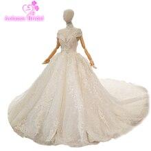 Real Picture Original Full Long Sleeves Skirt Big Puffy High Neck Beanding Tassel Lace Flowers Wedding Dress 2018 Custom Made
