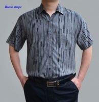 New arrival men pure spun silk turn down collar striped button shirt,100% schappe heavy silk loose short sleeve shirts men