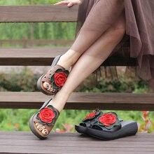 Г. женская летняя обувь из натуральной кожи на среднем каблуке женские сандалии шлепанцы ручной работы с цветами шлепанцы 9108-35